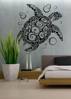Sea Turtle - uBer Decals Wall Decal Vinyl Decor Art Sticker Removable Mural Modern A282 on Etsy, $19.98