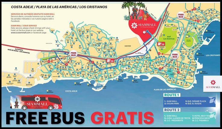 #Tenerife #rutas de #guaguas #autobuses #gratuitos  #compras  #CCSiamMall