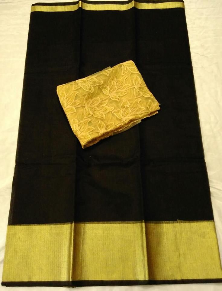 Latest Plain Kota sarees with gold embroidery Blouse Price : 1300+$ #kotasaree #embroidary #blouse