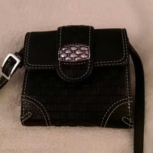 Authentic Brighton crossbody wallet Authentic Brighton crossbody wallet in black.  Basket weave pattern.  NWOT.  Pet free and nonsmoking home. Brighton Bags Wallets