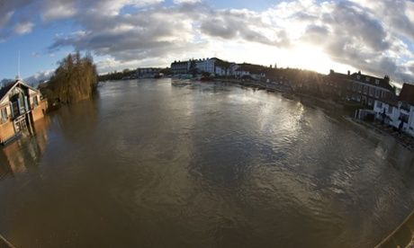 The River Thames flooded at Henley Bridge  Flooding in Oxfordshire on 9 January 2014