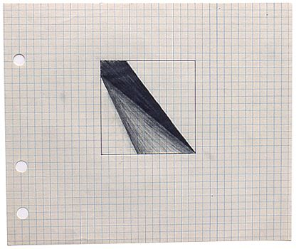 Lee Lozano, untitled, 1964; graphite & ballpoint pen on graph paper; 6-3/4 x 8 in.  Courtesy Lawrency Markey Gallery, San Antonio.
