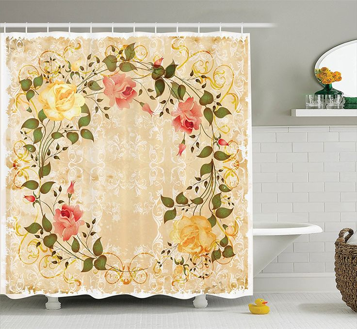 ... Shower Curtain Set By Ambesonne, Oval Shape Floral Crown With Leaves  And Roses Over Damask Motif Shabby Boho Decor, Bathroom Accessories, 75  Inches Long ...