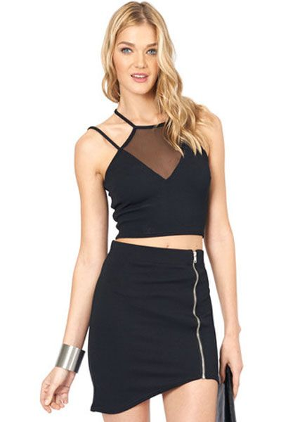 Black Mesh Insert Halter Club Top