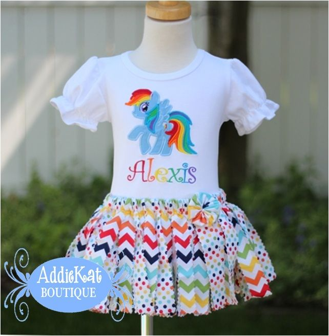 Personalized My Little Pony Rainbow Dash Chevron and Polka Dots Fabric Tutu Birthday Outfit-Rainbow Dash, My Little Pony, birthday shirt, fabric scrap tutu outfit