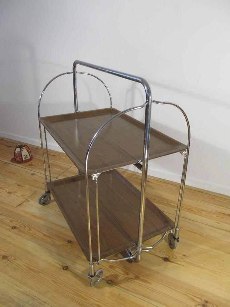 Vintage Brown Gerlinol Metal Folding Cart Table On Wheels Dinett Trolley Bar By Lalanterne
