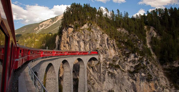 Of Switzerland's many alpine rail excursions, this one may offer the most spectacular ride. On a journey of about four hours, the train leaves the valley town of Chur (elevation 1,946 feet) and zips through 55 tunnels and across 96 bridges as it climbs past snowy peaks and glaciers.