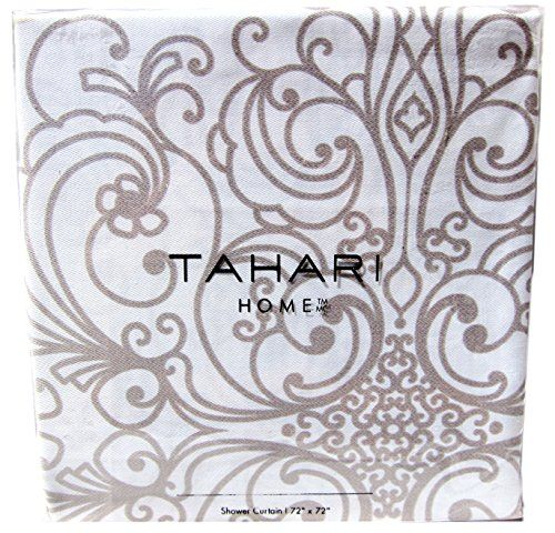 Tahari Cotton Shower Curtain Beige Grey Tan Taupe Gray