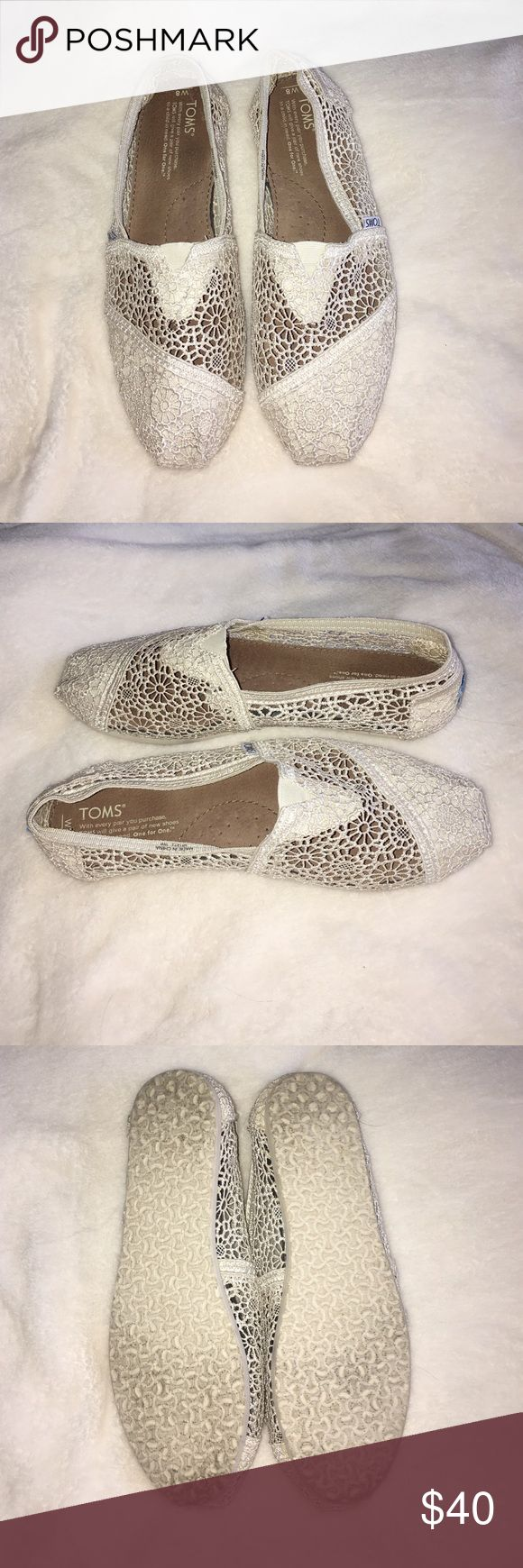 Women's Crochet Toms! Worn once, do not show signs of wear, crochet toms! Size 8 TOMS Shoes Flats & Loafers