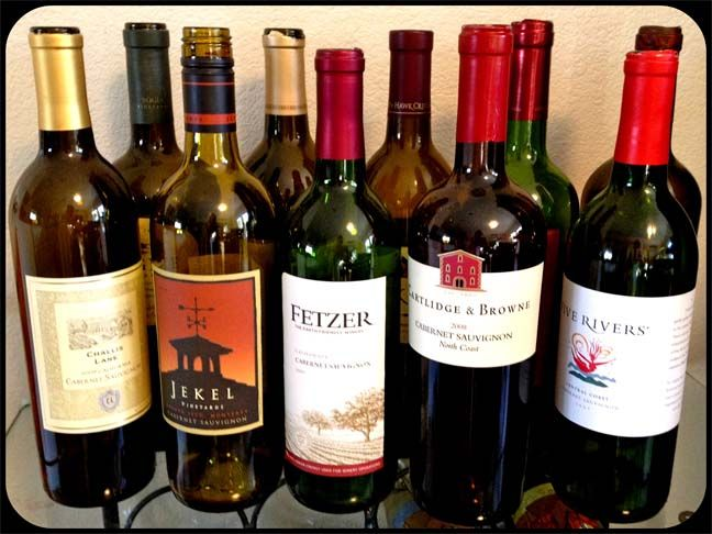 a mixture of inexpensive bottles of cabernet sauvignon