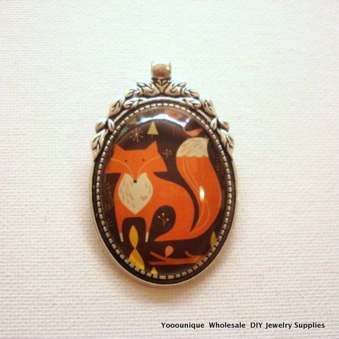 One  Handmade Glass Photo Cabochon Fox Silver Pendant 40x30mm PCP02-4030/201 by yooounique on Etsy