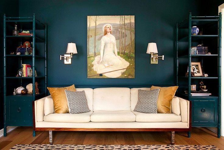 benjamin moore caribbean teal living room eclectic with wood floors fabric shade