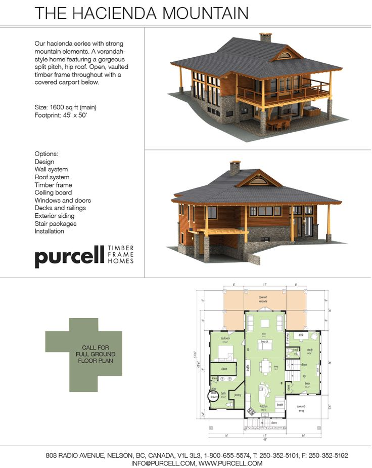 Purcell timber frames the hacienda mountain prefab for A frame mountain house plans
