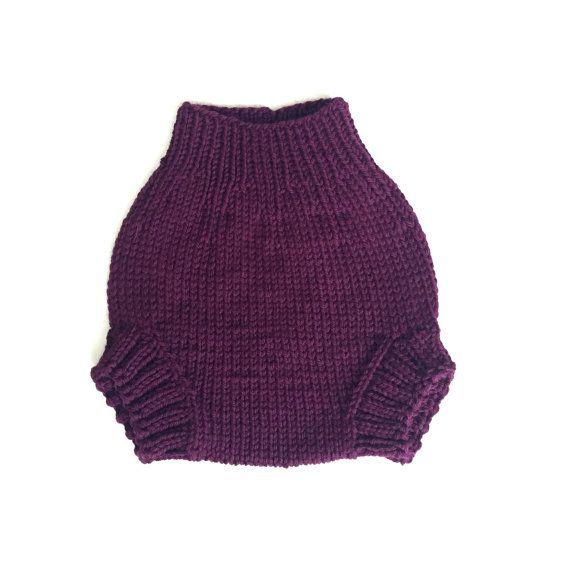 Dark purple wool diaper cover, size small