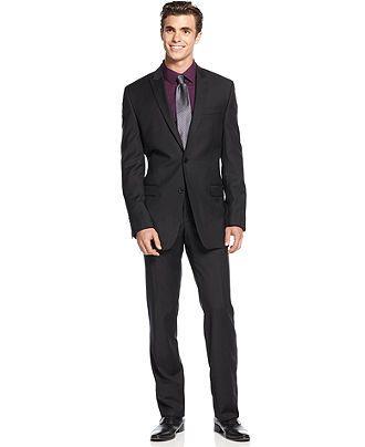 Calvin Klein Suit, Black Tonal Stripe Peak Lapel Slim Fit - Suits & Suit Separates - Men - Macy's