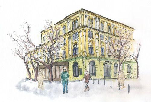 January 5, 2017. Hviezdoslavovo namestie, Bratislava. Sketch, markers, watercolor.