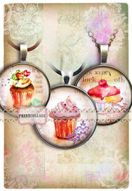 Cupcakes images Cabochon images Digital Collage by PrintCollage