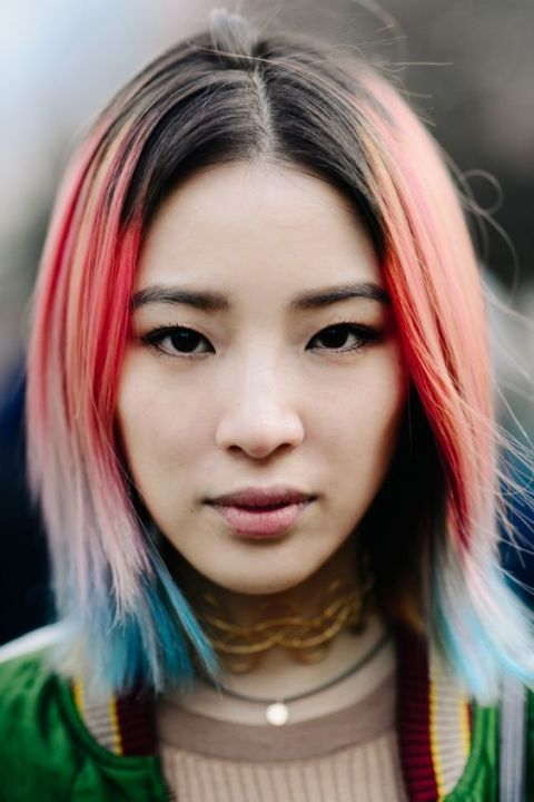 Model Irene Kim works every colour in the rainbow.