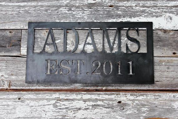 Personalized Metal Family Sign Rustic Metal Home Decor Custom