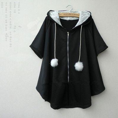 Japanese cute students hooded cloak coat
