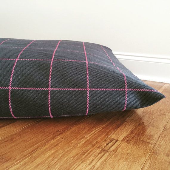 Plaid Dog bed cover Check Dog bed cover Black by PlushPupdogbeds