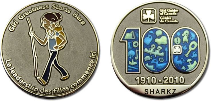 Girl Guides of Canada 100th Anniversary Geocache Coin. #Girl_Guides #geocaching