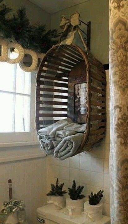 Diy Basket Into Towel Holder Diy Bathroom Pinterest