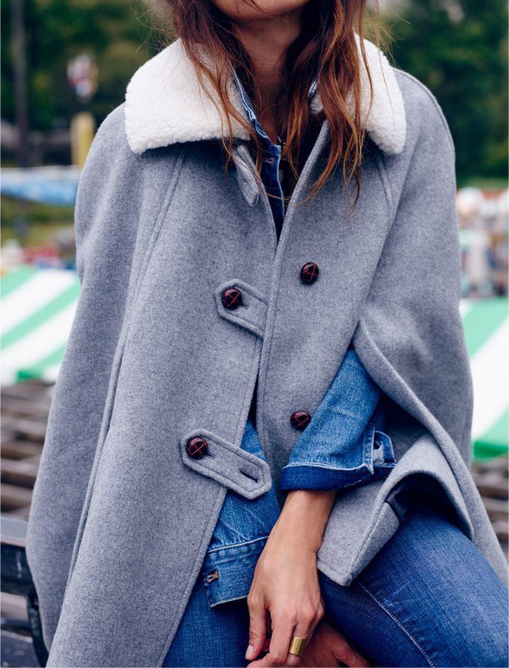 madewell et sézane® igor cape worn with the cali demi-boot jeans + pinter jean jacket.