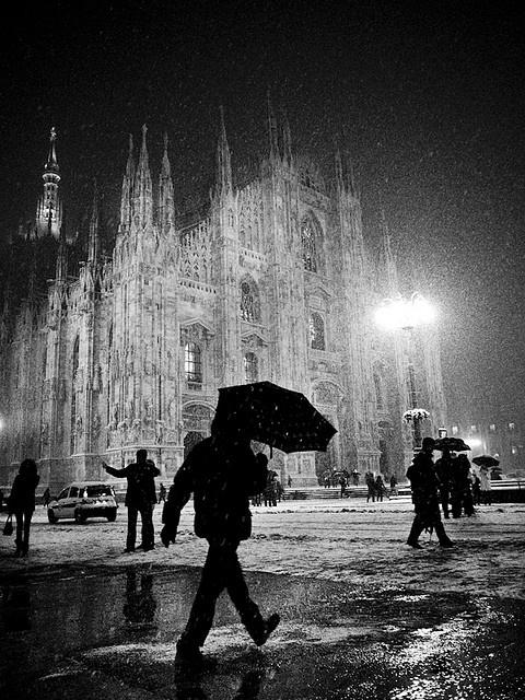 snowing in milan, italy