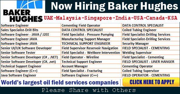Multiple Jobs at Baker Hughes Oil Industry :http://uptodatejobs.com/multiple-jobs-at-baker-hughes-oil-industry.html/