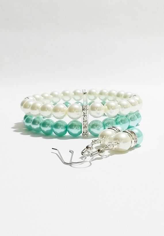 Turquoise Wedding Bracelet Set / Bridesmaid by VickysLittleSecrets, $14.00
