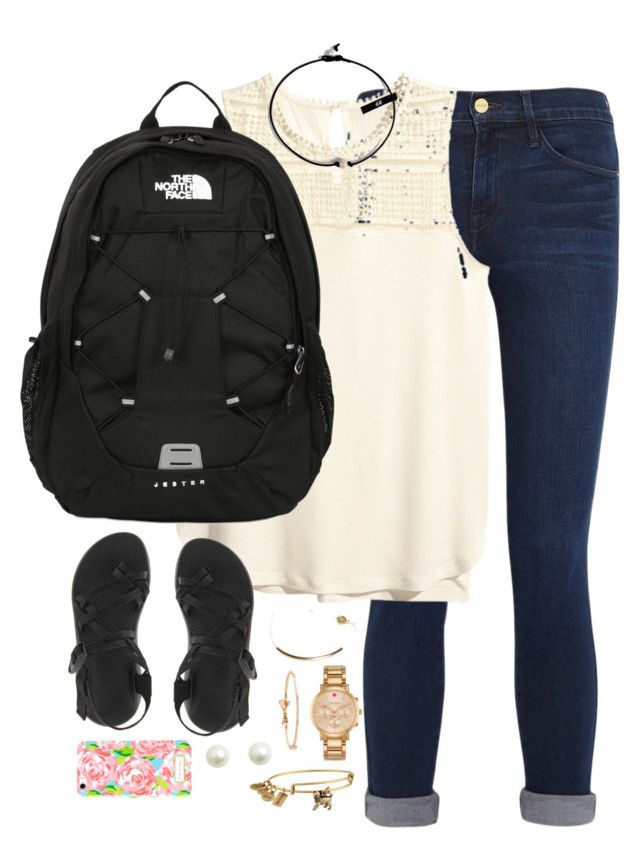 """""""Exactly what I wore to school today✌️"""" by kaley-ii ❤ liked on Polyvore featuring moda, Frame Denim, H&M, The North Face, Chaco, Pura Vida, Kate Spade, Alex and Ani, Lilly Pulitzer e kaleyschoosets"""