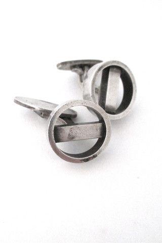 Georg Jensen Denmark vintage modernist silver cufflinks # 91 by Soren Georg Jensen