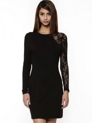 KOOVS Single Lace Sleeve Body Con Dress