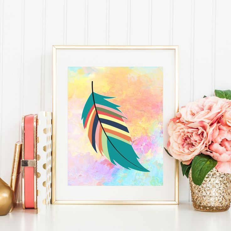 Indian Art Printable, Feather printable, indian artwork, rainbow pastel, pastel art print, feather artwork, indian poster, aqua, pink, blue by WatercolorArtHut on Etsy