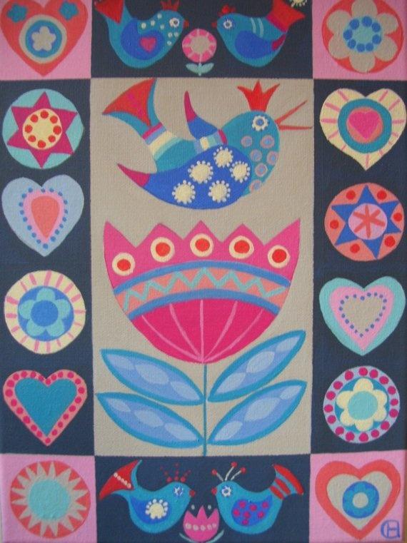 Folk Art Painting - Tulip Bird