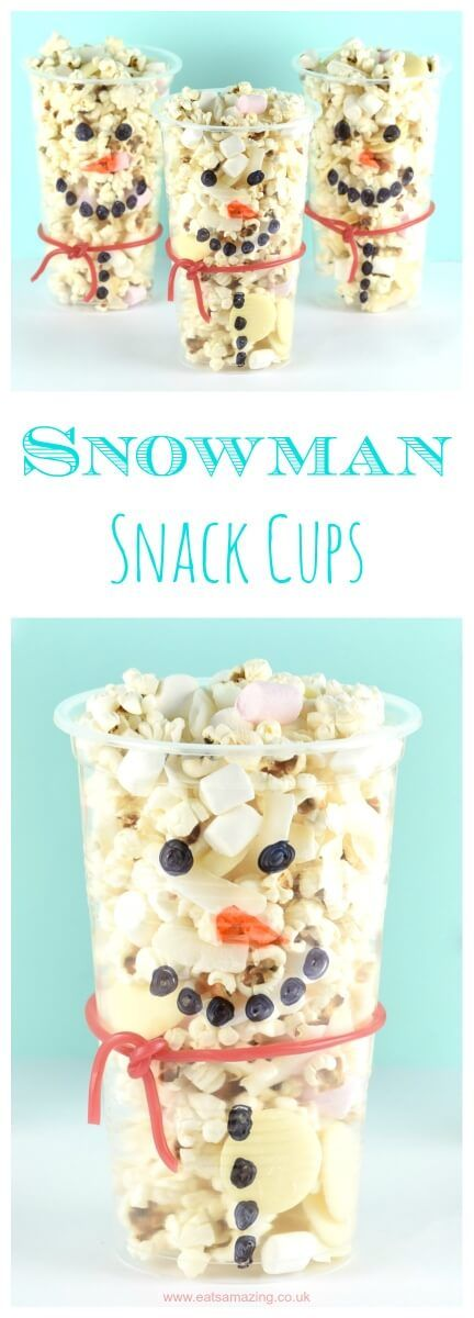 Cute and easy snowman snack cups recipe - fun kids food idea that is perfect for winter parties and movie night snacks(Christmas Bake Packaging)