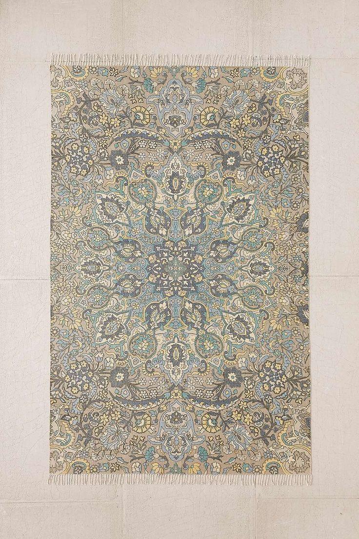 Tapis Neva à motif médaillon 5x7 imprimé bleu