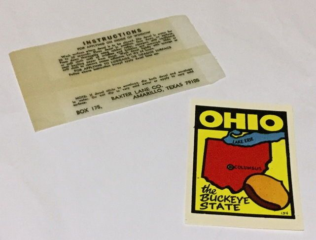 99 Cent NO RESERVE #Auction!!    Available on #Ebay  HERE --->>> http://ebay.to/2oZth1y    #Vintage #BaxterLane #Travel Window #Decal #RV #Roadtrip 🚙#USA #OHIO THE #Buckeyes State #Ebay 💗