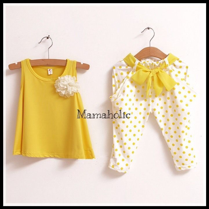 Girls Yellow Singlet & Harem Pants Summer Set (2pcs), Girls Outfit, 4 Years