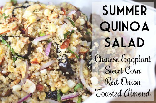 quinoa salad with chinese eggplant, sweet corn, red onion, and toasted ...