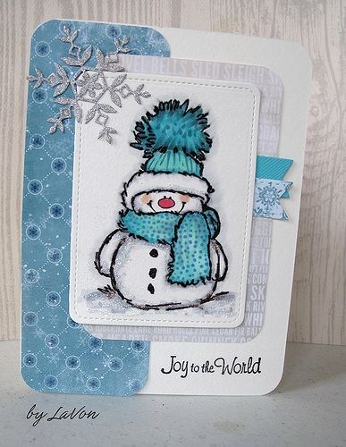 "Joy to the World / Snowy | Used the Penny Black ""Snowy"" stam… 