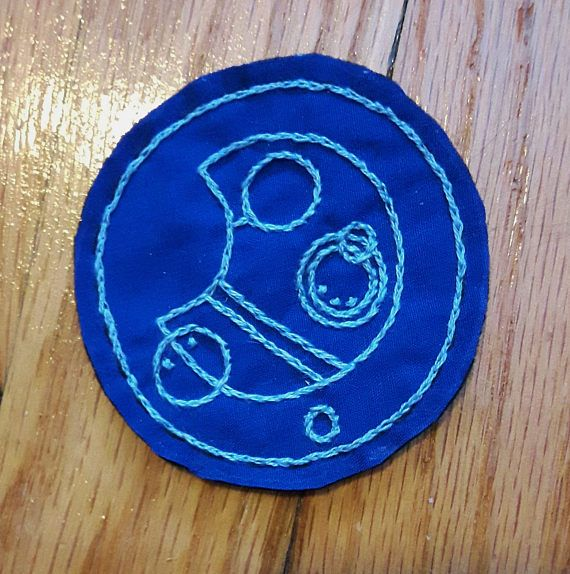 Hand embroidered patch. Doctor Who Gallifreyan. Allons-y. Nerd patch. Sew on patches for jackets. Punk patches. Nerdy gifts. Space patch