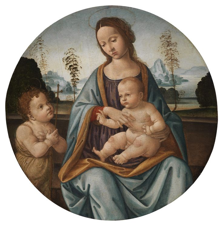 TOMMASO Florence, XV Century  Madonna and Child with the Young St. John the Baptist  Panel, cm 60.5Ø