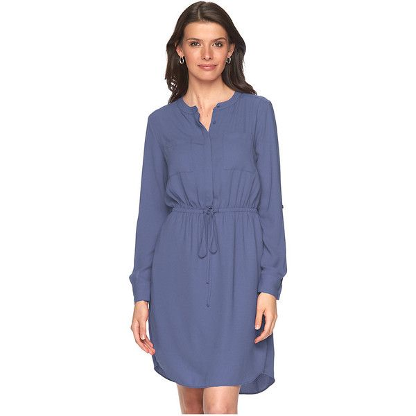 Plus Size Apt. 9® Crepe Shirt Dress ($21) ❤ liked on Polyvore featuring dresses, blue, plus size, night out dresses, plus size going out dresses, plus size dresses, womens plus dresses and party dresses