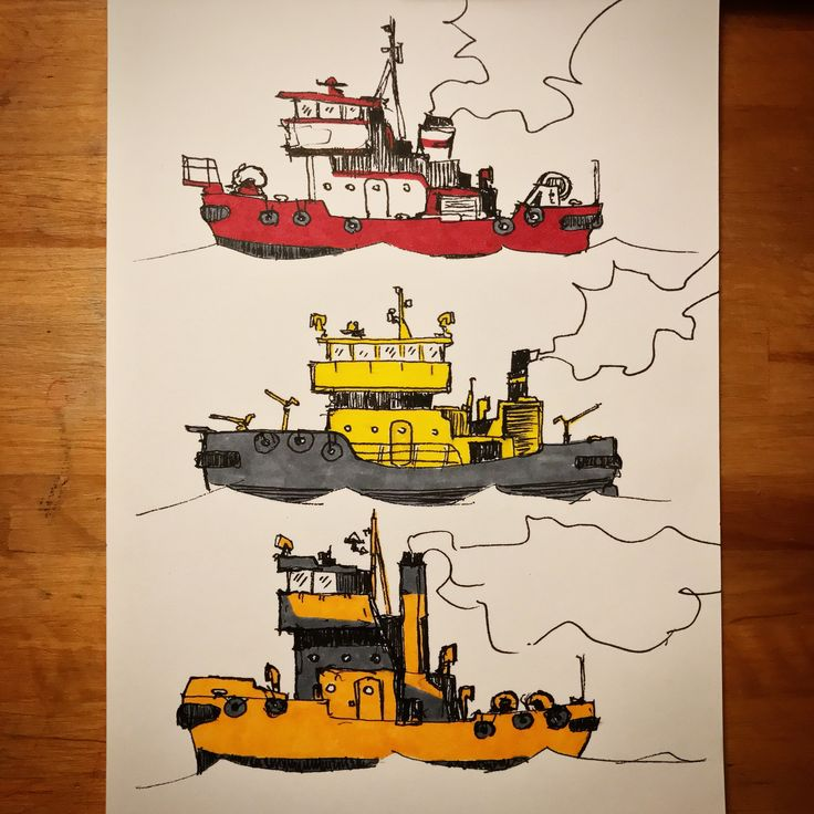 Tugboats from TinyMachinery Instagram. Maritime ships also mau be colorful :)