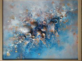 Abstracte schilderkunst, ondertekend Framed klaar te hangen, mysterieuze kunst, dromerige, schelpen kunst, romantisch schilderij, surrealisme, liefde * Ocean, zand...