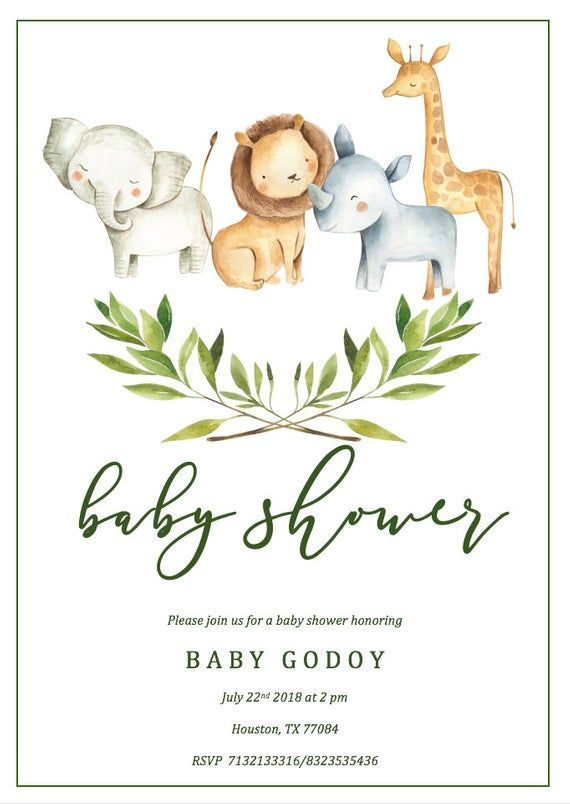 Safari Baby Shower Invitation Template