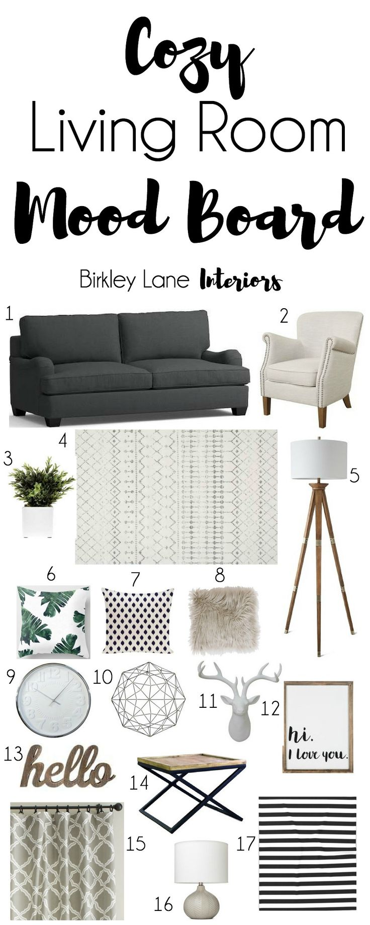 List of living room accessories - Cozy Living Room Mood Board