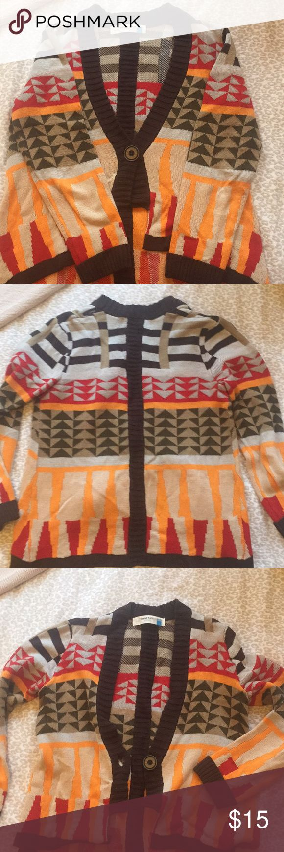 Slouchy Navajo print cardigan. Slouchy Navajo print cardigan. Originally from Anthropologie. Sparrow brand. Size L. Super comfy. Great to throw on to wear on the weekends with leggings or jeans.  $15 OBO Anthropologie Sweaters Cardigans